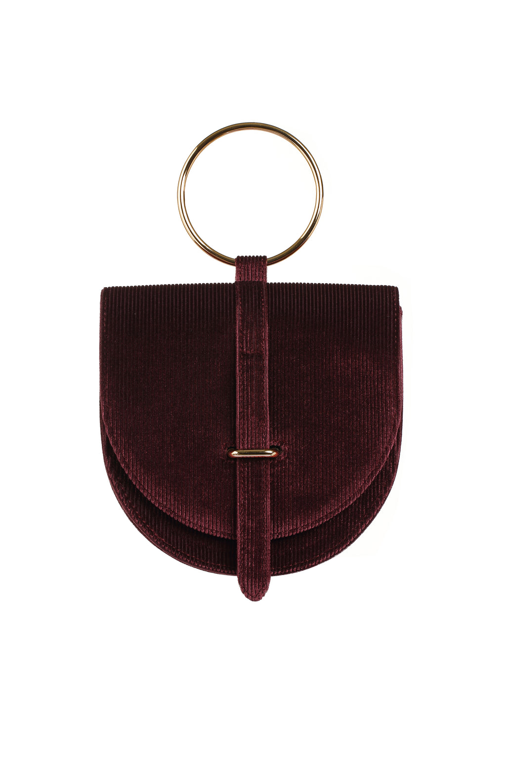 O-Ring Wine Burnout Velvet Handbag