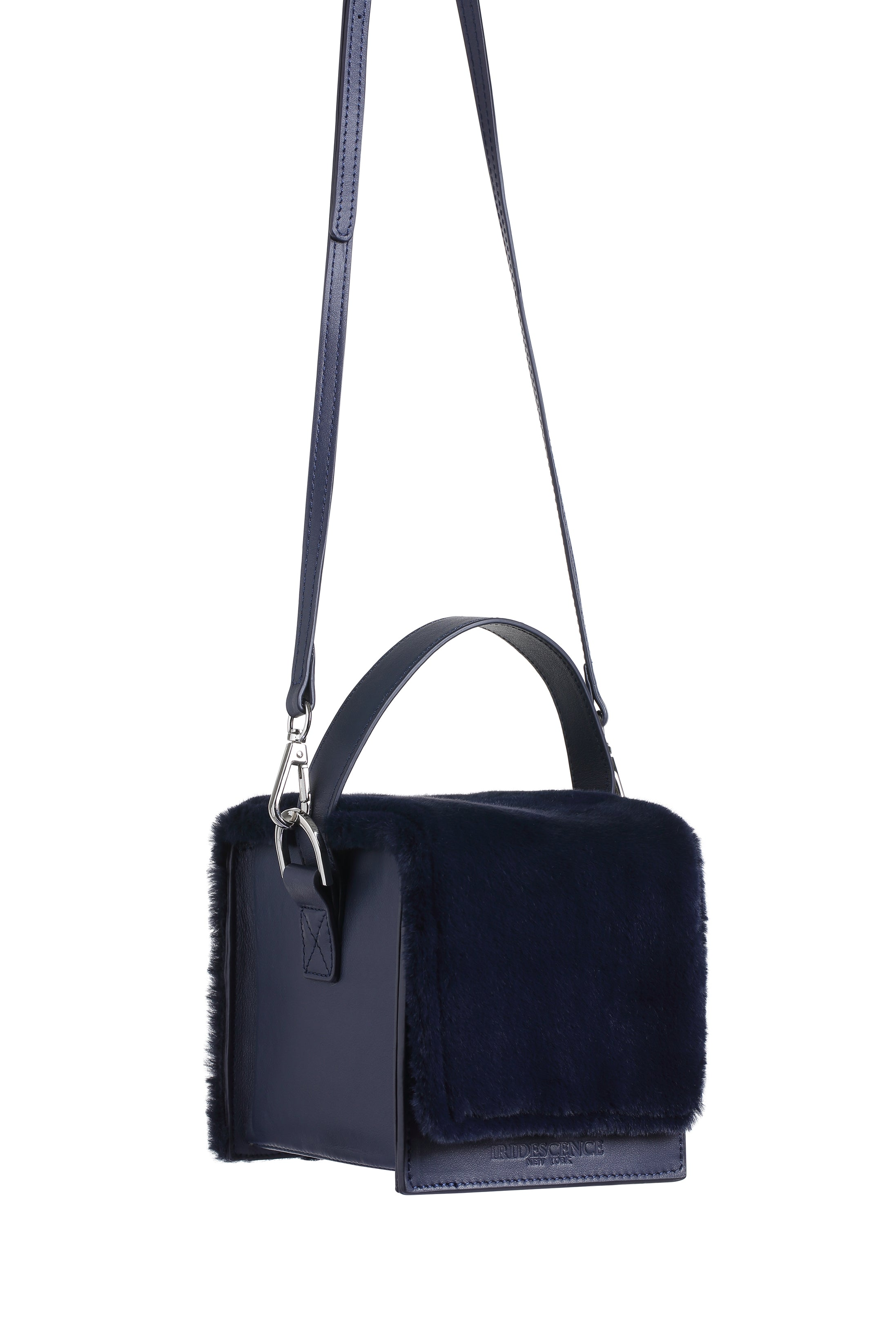 DUMBO Navy Leather & Fur Handle