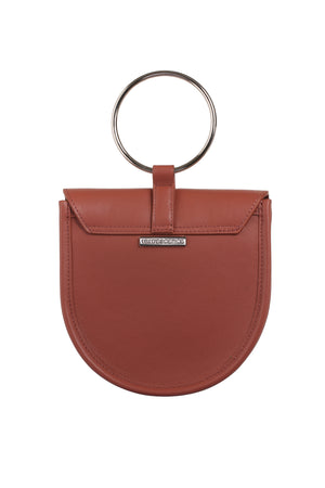 O-Ring Rosewood Leather Handbag