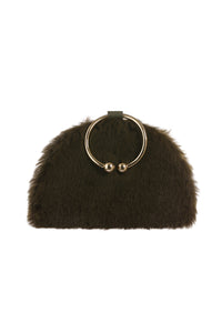 Chelsea Olive Leather & Faux fur Clutch Bag