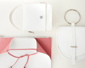 O-Ring White Lambskin Handbag