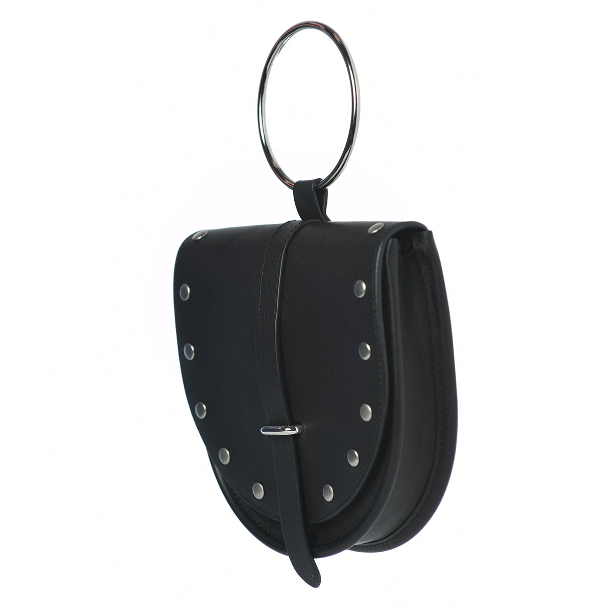 Limited O-Ring Black Leather Handbag