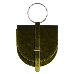 O-Ring Green Velvet Handbag