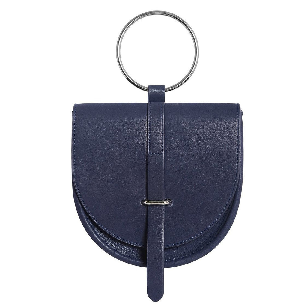 O-Ring Metallic Leather Handbag