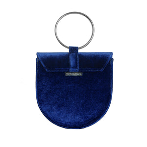 O-Ring Navy Velvet Handbag