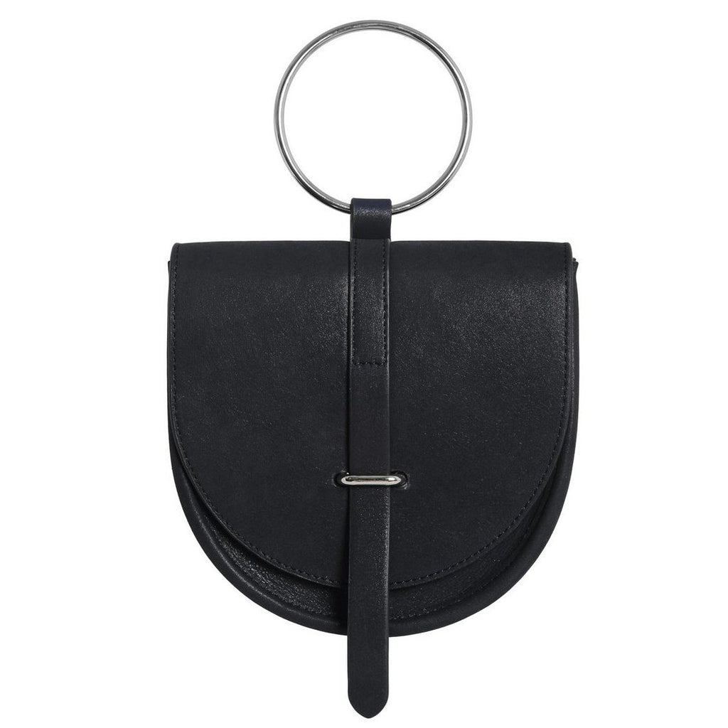 O-Ring Black Leather Handbag