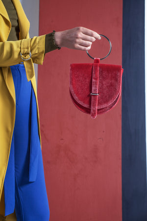 O-Ring Strawberry Velvet Handbag