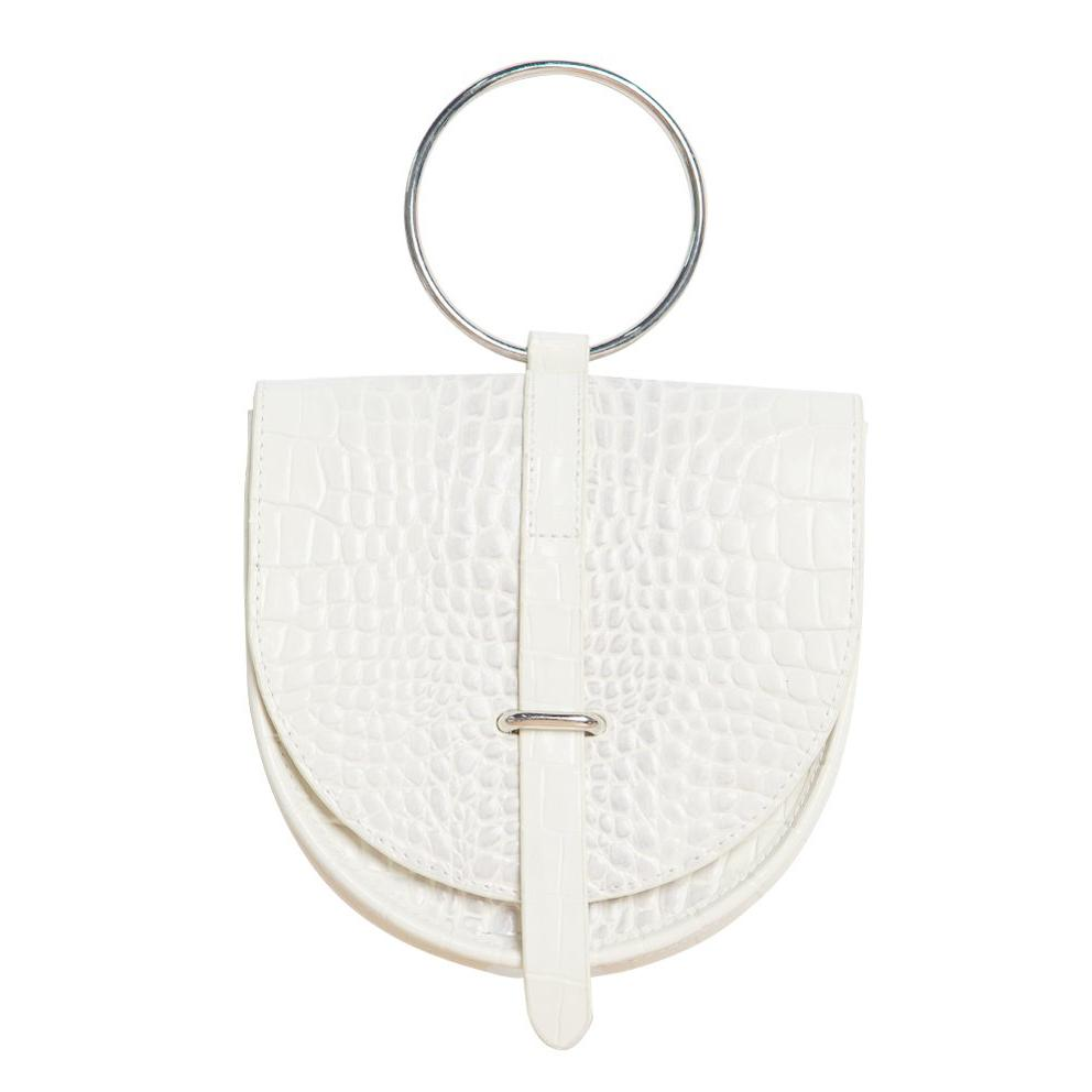 O-Ring White Leather Handbag