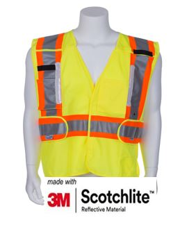 Reflective Vest with LED Lights- 5-PT Breakaway Vest- Class 2