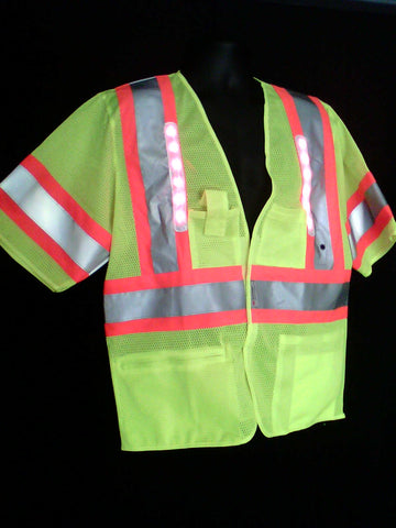 HiViz Reflective Vest with LED Lights- 5 PT Breakaway Vest- Class 3