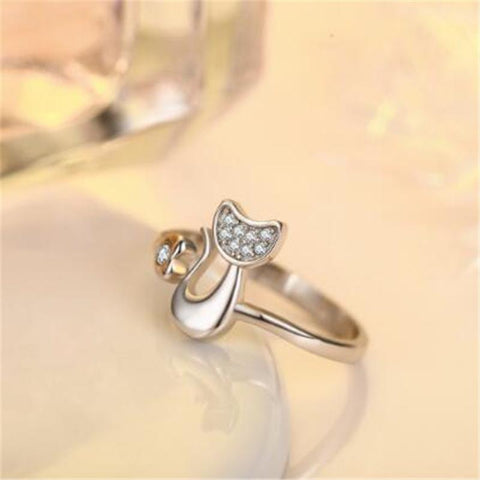 Resizable Cute Cat Silver Ring