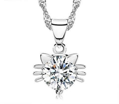 Austria Crystal Kitty Pendant Necklace