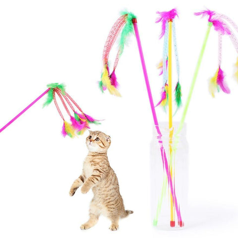 1pc Interactive Pet Cat Toy with Bell/Feather/Ball
