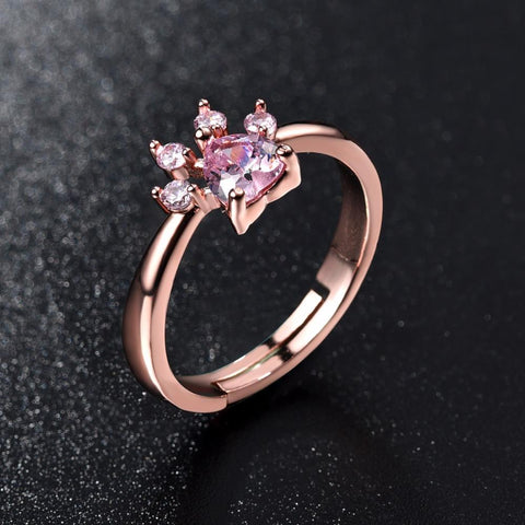 Rose Crystal Paw Ring