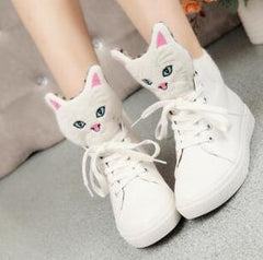 Leather Cat Heads High Top Shoes
