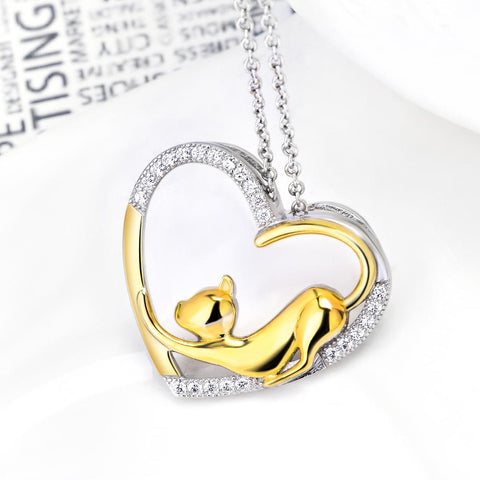 925 Sterling Silver My Heart Cat Necklace
