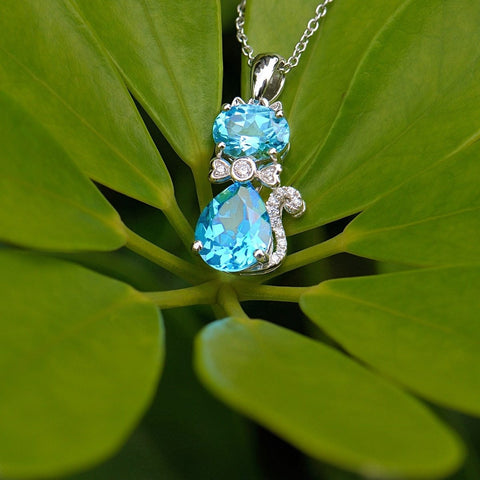 Bright Blue Topaz Cat Necklace