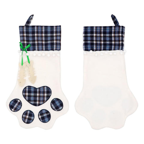Christmas Plaid Paw Stockings For Fire-place Decor