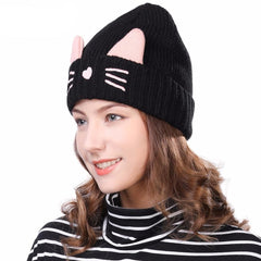 Image of Knitted Beanies Cat Ear Winter Hat