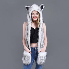 Fuzzy Fluffy Winter Animal Hat with Mittens Gloves Plush Beanie