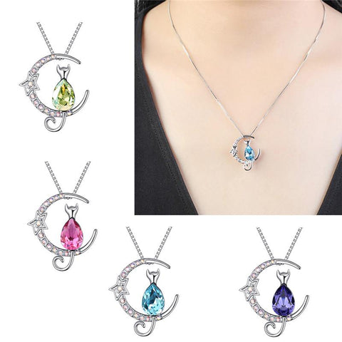 Luxury Crystal Cute Moon Cat Necklace