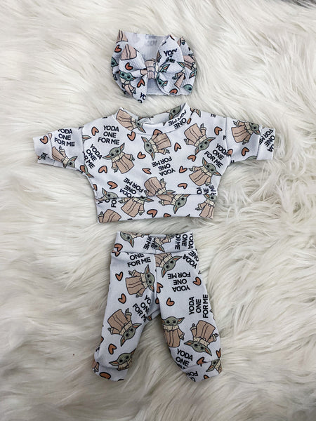 minikane doll  long sleeve lounge set VALENTINES prints