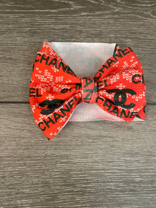Christmas Chanel  Headwrap/Top Knot