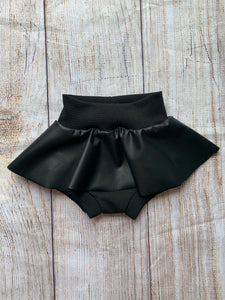 Black faux leather Skirted Bummies