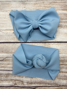 light blue headwrap