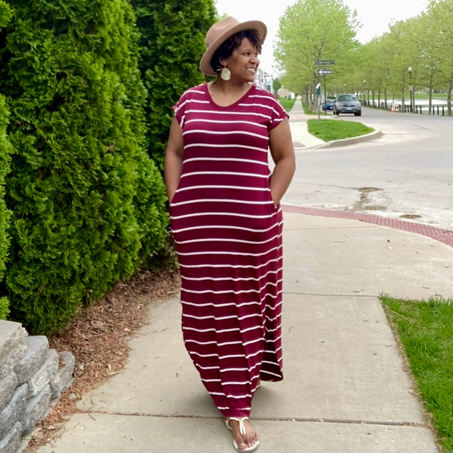 Burgundy striped v neck maxi dress