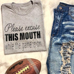 Please Excuse This Mouth Football Sports tee