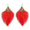 Red & Leopard Fringe Earrings