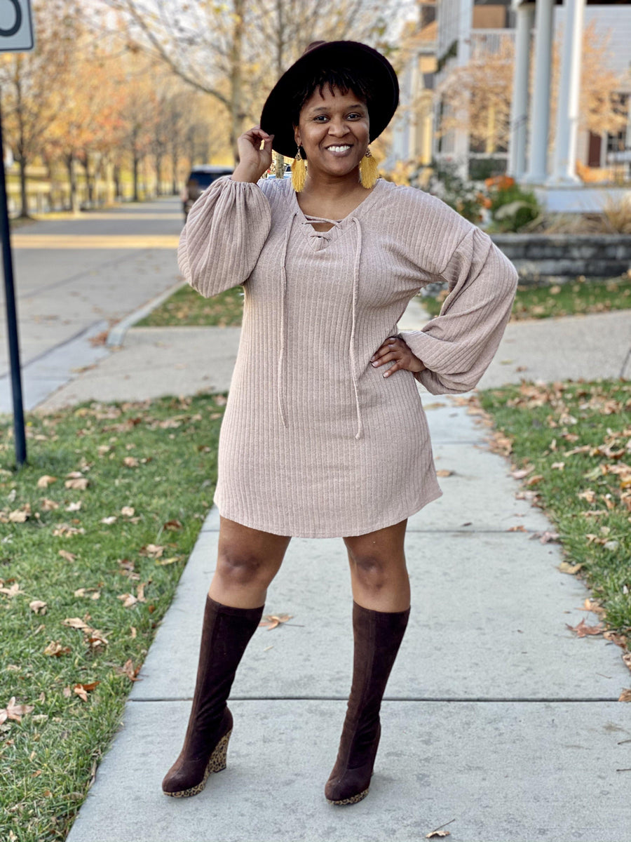 Taupe Long Sleeve Dress - Personally She