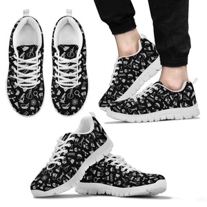 Black and White Science Pattern Sneakers