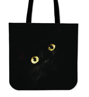 Black Cat Yellow Eyes Linen Tote
