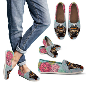 Floral Hipster Pug Casual Shoes