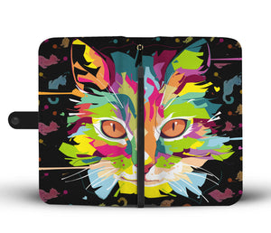 Colorful Cat Portrait Wallet Phone Case