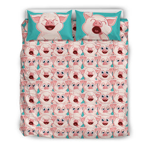 Pig Emojis Bedding Set
