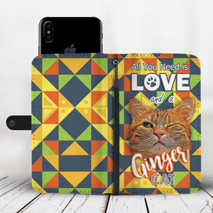 Ginger Cat Love Wallet Phone Case