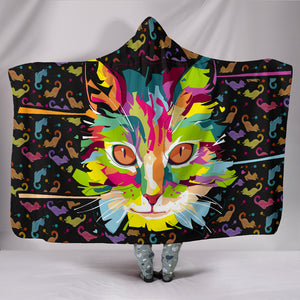 Fierce Cat Hooded Blanket