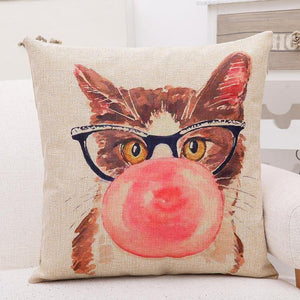 Cute Hipster Cats Pillow Cover