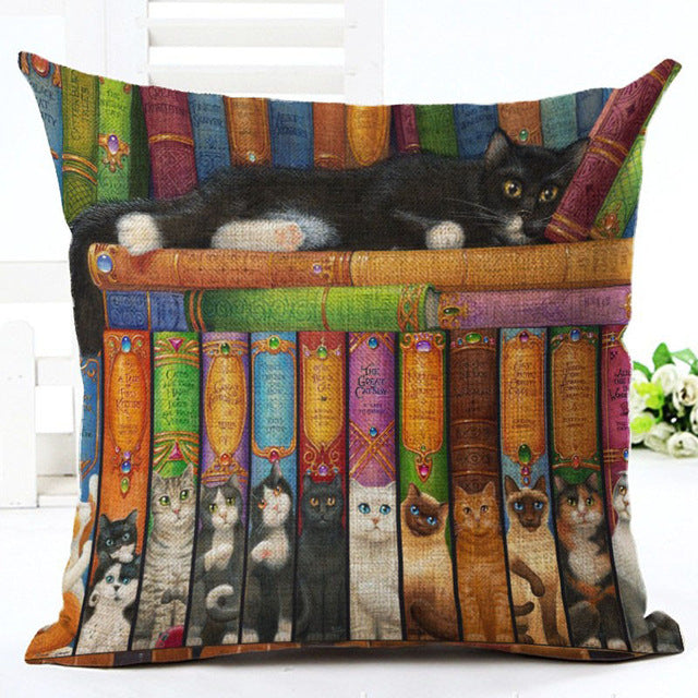 Book and Cat Lovers Pillow Cover
