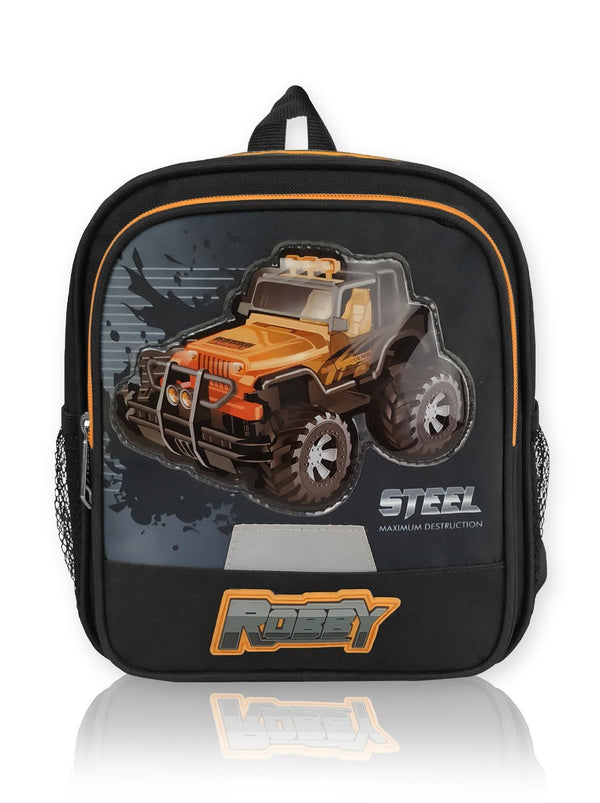 Steering Wheel - 10in Backpack (Black)  - Robby Rabbit Boys