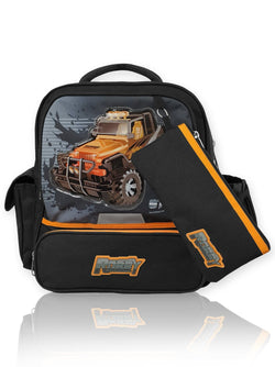 Steering Wheel - 14in Backpack (Black)  - Robby Rabbit Boys