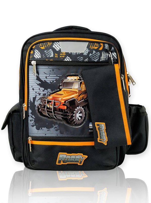 Steering Wheel - 16in Backpack (Black)  - Robby Rabbit Boys