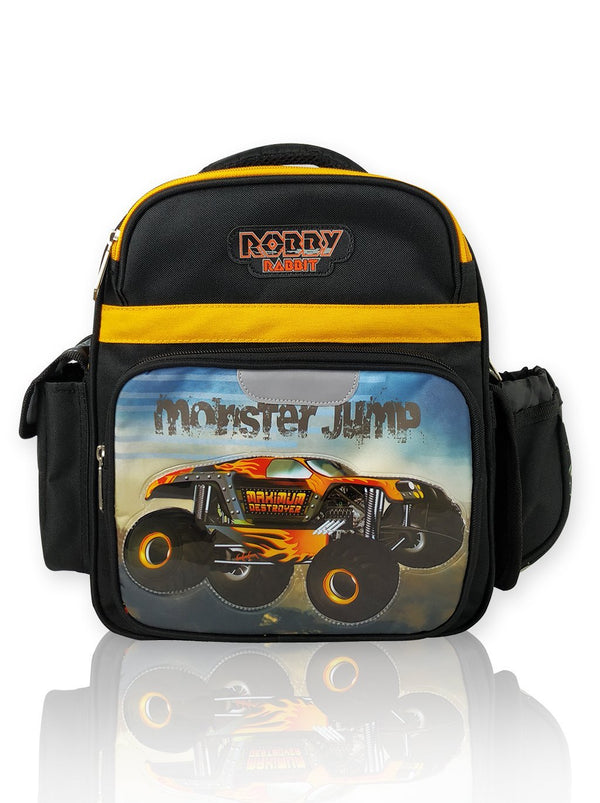 Monster Jump - 12in Backpack (Black)  - Robby Rabbit Boys