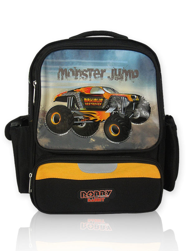 Monster Jump - 14in Backpack (Black)  - Robby Rabbit Boys
