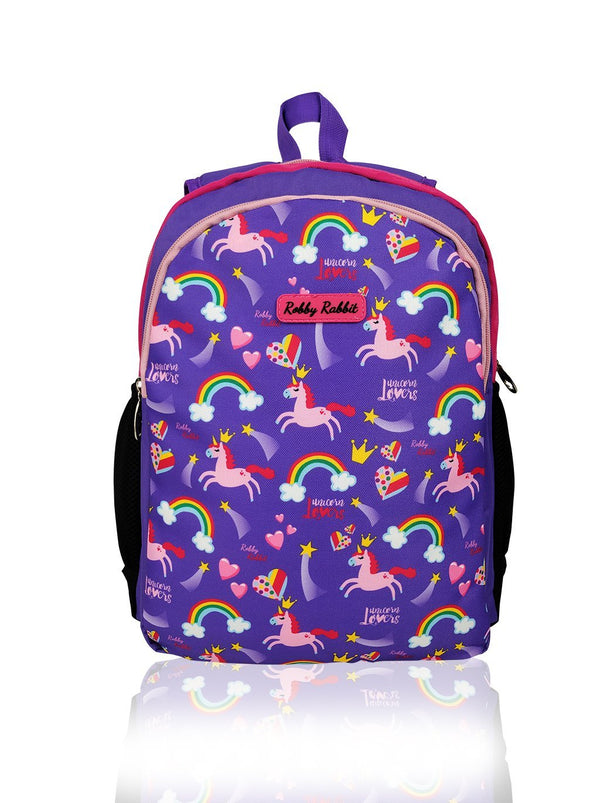 Flowers and Butterflies (Reversible) - 15in Backpack (Purple and Pink)  - Robby Rabbit Girls