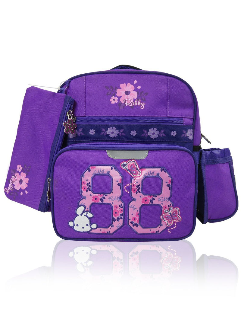 Flower Power - 12in Backpack (Purple)  - Robby Rabbit Girls