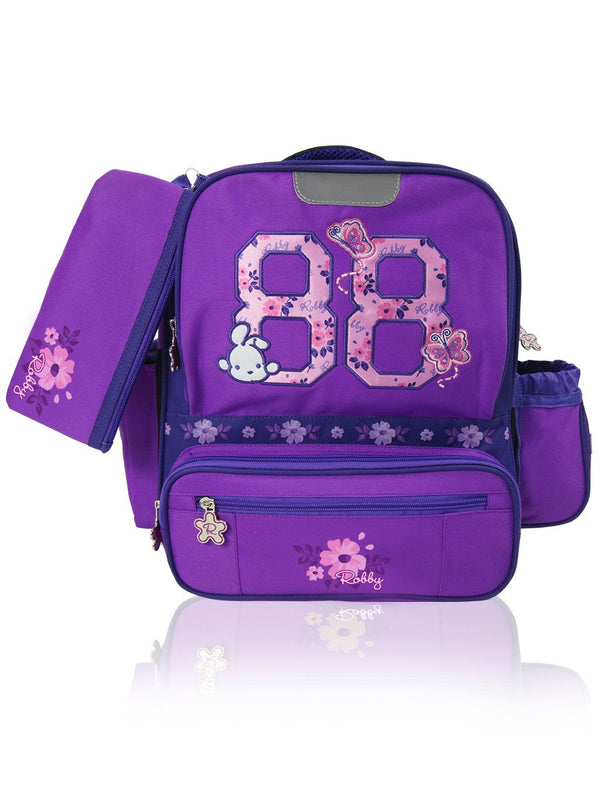 Flower Power - 14in Backpack (Purple)  - Robby Rabbit Girls